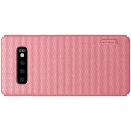Пластиковый нескользящий NILLKIN Frosted кейс чехол для Samsung Galaxy S10 Plus Розовое Золото + защитная пленка