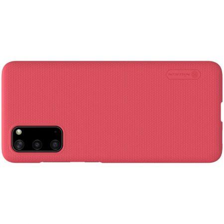 Пластиковый нескользящий NILLKIN Frosted кейс чехол для Samsung Galaxy S20 Красный + подставка