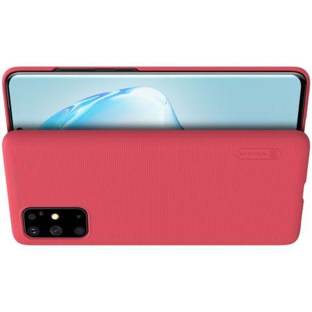 Пластиковый нескользящий NILLKIN Frosted кейс чехол для Samsung Galaxy S20 Plus Красный + подставка