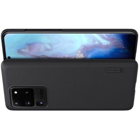 Пластиковый нескользящий NILLKIN Frosted кейс чехол для Samsung Galaxy S20 Ultra Черный + подставка