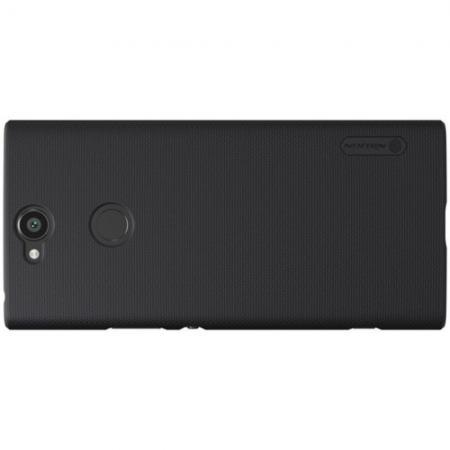 Пластиковый нескользящий NILLKIN Frosted кейс чехол для Sony Xperia XA2 Plus Черный + защитная пленка