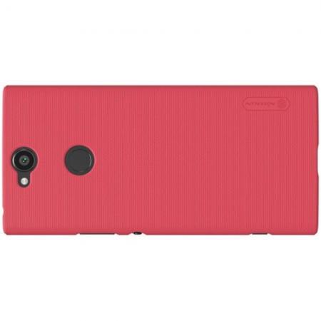 Пластиковый нескользящий NILLKIN Frosted кейс чехол для Sony Xperia XA2 Plus Красный + защитная пленка