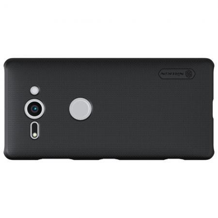 Пластиковый нескользящий NILLKIN Frosted кейс чехол для Sony Xperia XZ2 Compact Черный + подставка