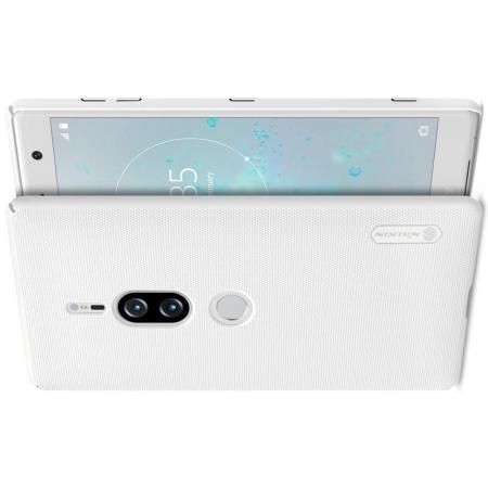 Пластиковый нескользящий NILLKIN Frosted кейс чехол для Sony Xperia XZ2 Premium Белый + защитная пленка
