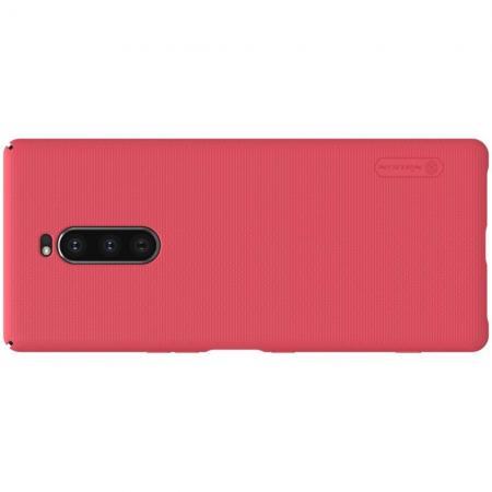 Пластиковый нескользящий NILLKIN Frosted кейс чехол для Sony Xperia 1 Красный + защитная пленка