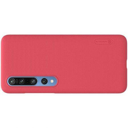 Пластиковый нескользящий NILLKIN Frosted кейс чехол для Xiaomi Mi 10 / Mi 10 Pro / 10 Pro Красный + подставка