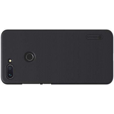 Пластиковый нескользящий NILLKIN Frosted кейс чехол для Xiaomi Mi 8 Lite Черный + защитная пленка