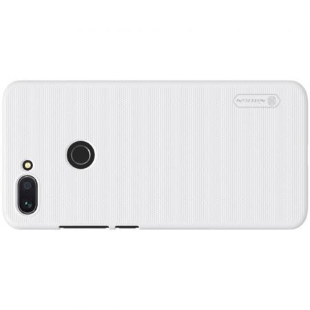 Пластиковый нескользящий NILLKIN Frosted кейс чехол для Xiaomi Mi 8 Lite Белый + защитная пленка
