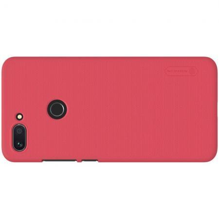 Пластиковый нескользящий NILLKIN Frosted кейс чехол для Xiaomi Mi 8 Lite Красный + защитная пленка