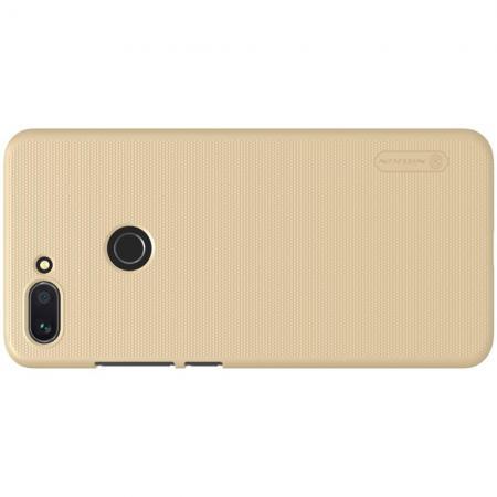 Пластиковый нескользящий NILLKIN Frosted кейс чехол для Xiaomi Mi 8 Lite Золотой + защитная пленка