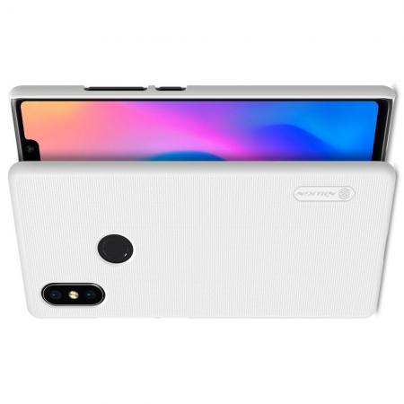 Пластиковый нескользящий NILLKIN Frosted кейс чехол для Xiaomi Mi 8 SE Белый + защитная пленка
