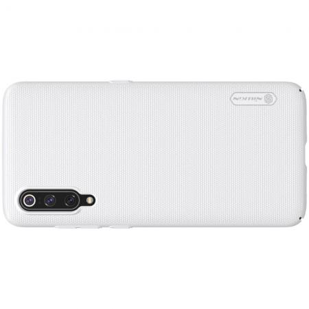 Пластиковый нескользящий NILLKIN Frosted кейс чехол для Xiaomi Mi 9 Белый + подставка