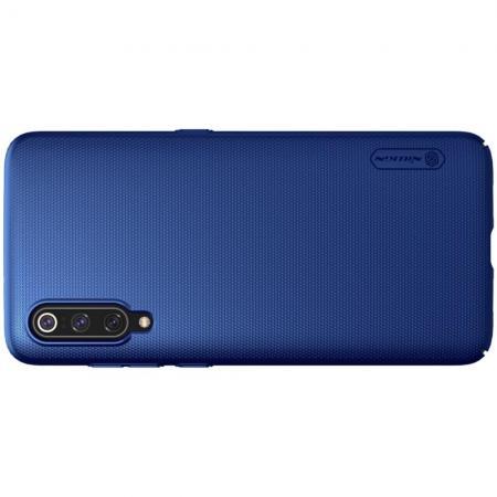 Пластиковый нескользящий NILLKIN Frosted кейс чехол для Xiaomi Mi 9 Синий + подставка
