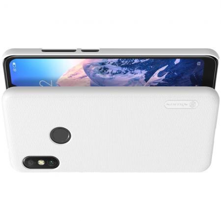 Пластиковый нескользящий NILLKIN Frosted кейс чехол для Xiaomi Mi A2 Lite / Redmi 6 Pro Белый + защитная пленка