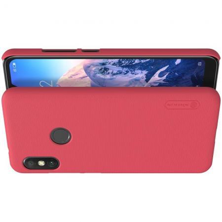 Пластиковый нескользящий NILLKIN Frosted кейс чехол для Xiaomi Mi A2 Lite / Redmi 6 Pro Красный + защитная пленка