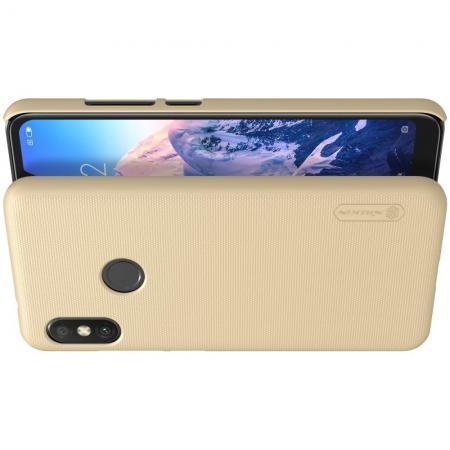 Пластиковый нескользящий NILLKIN Frosted кейс чехол для Xiaomi Mi A2 Lite / Redmi 6 Pro Золотой + защитная пленка