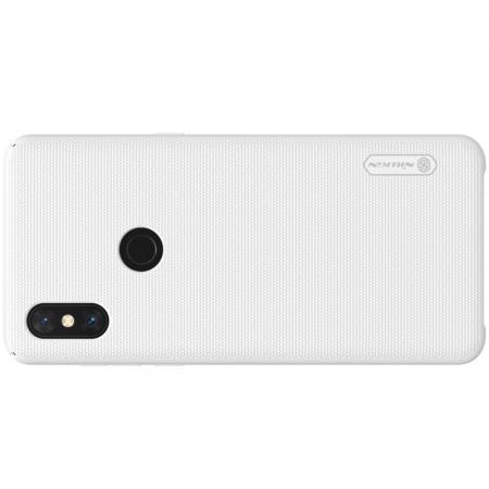 Пластиковый нескользящий NILLKIN Frosted кейс чехол для Xiaomi Mi Mix 3 Белый + защитная пленка