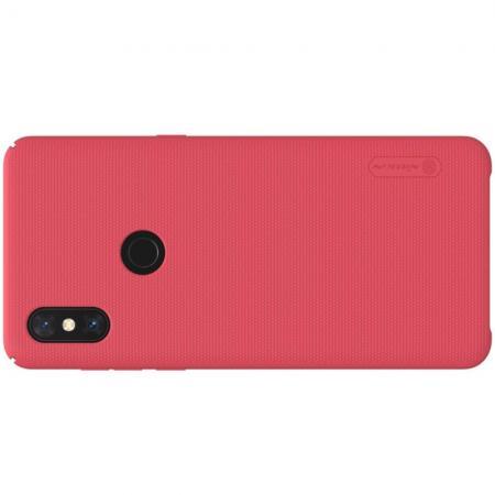 Пластиковый нескользящий NILLKIN Frosted кейс чехол для Xiaomi Mi Mix 3 Красный + защитная пленка