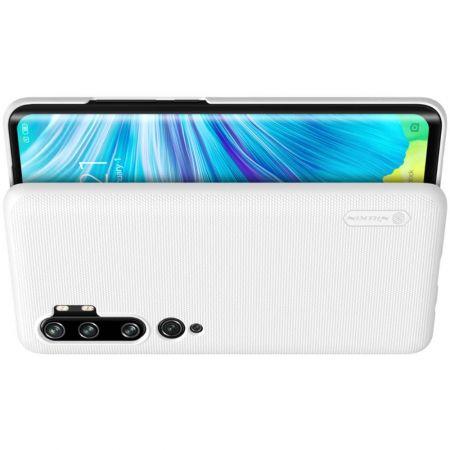 Пластиковый нескользящий NILLKIN Frosted кейс чехол для Xiaomi Mi Note 10 Белый + подставка