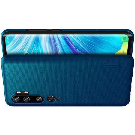 Пластиковый нескользящий NILLKIN Frosted кейс чехол для Xiaomi Mi Note 10 Синий + подставка