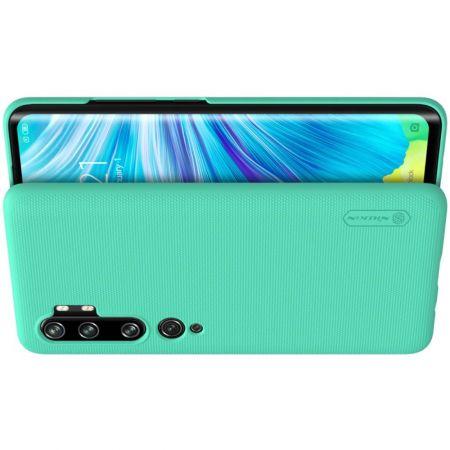 Пластиковый нескользящий NILLKIN Frosted кейс чехол для Xiaomi Mi Note 10 Зеленый + подставка