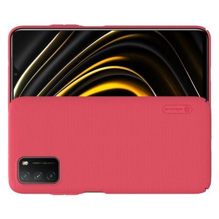 Пластиковый нескользящий NILLKIN Frosted кейс чехол для Xiaomi Poco M3 Красный + подставка