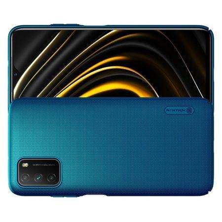 Пластиковый нескользящий NILLKIN Frosted кейс чехол для Xiaomi Poco M3 Синий + подставка