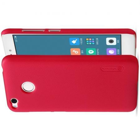 Пластиковый нескользящий NILLKIN Frosted кейс чехол для Xiaomi Redmi 4X Красный + подставка