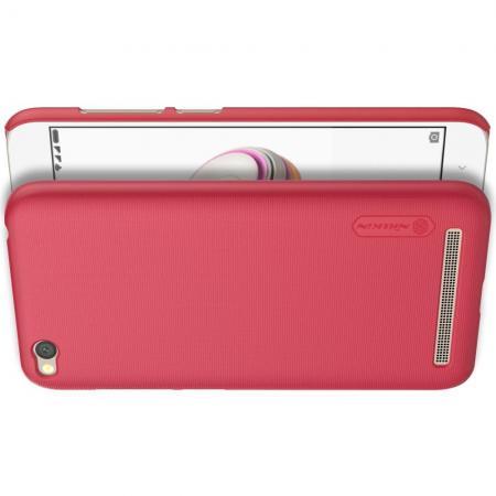 Пластиковый нескользящий NILLKIN Frosted кейс чехол для Xiaomi Redmi 5a Красный + защитная пленка