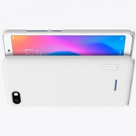 Пластиковый нескользящий NILLKIN Frosted кейс чехол для Xiaomi Redmi 6A Белый + защитная пленка
