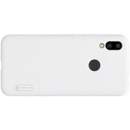 Пластиковый нескользящий NILLKIN Frosted кейс чехол для Xiaomi Redmi 7 Белый + подставка