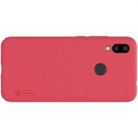 Пластиковый нескользящий NILLKIN Frosted кейс чехол для Xiaomi Redmi 7 Красный + подставка