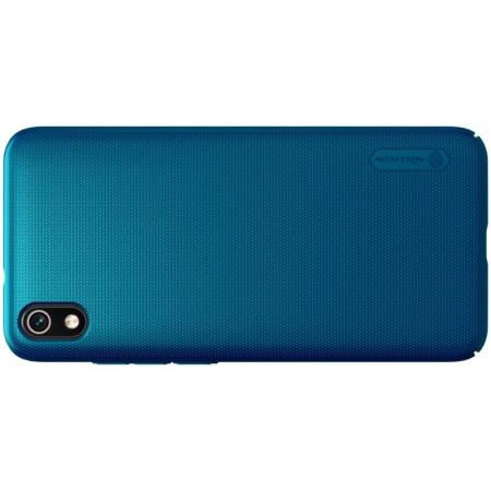 Пластиковый нескользящий NILLKIN Frosted кейс чехол для Xiaomi Redmi 7A Синий + подставка