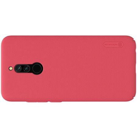 Пластиковый нескользящий NILLKIN Frosted кейс чехол для Xiaomi Redmi 8 Красный + подставка