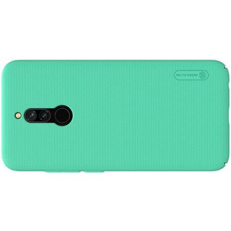Пластиковый нескользящий NILLKIN Frosted кейс чехол для Xiaomi Redmi 8 Зеленый + подставка