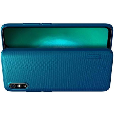 Пластиковый нескользящий NILLKIN Frosted кейс чехол для Xiaomi Redmi 9A Синий + подставка
