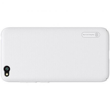 Пластиковый нескользящий NILLKIN Frosted кейс чехол для Xiaomi Redmi Go Белый + подставка