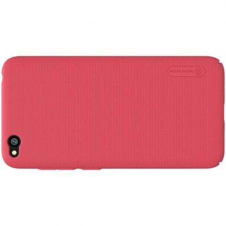 Пластиковый нескользящий NILLKIN Frosted кейс чехол для Xiaomi Redmi Go Красный + подставка