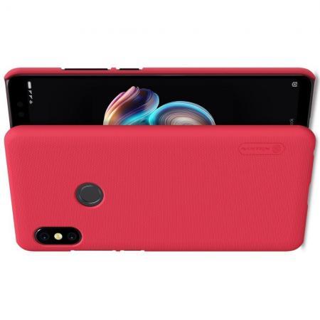 Пластиковый нескользящий NILLKIN Frosted кейс чехол для Xiaomi Redmi Note 5 Pro Красный + защитная пленка