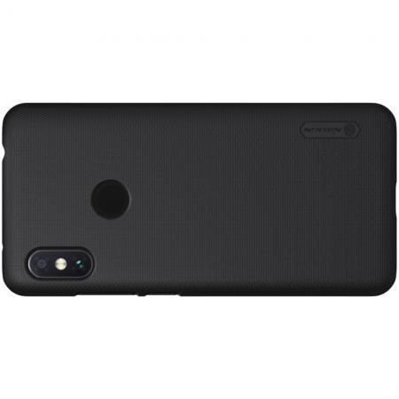 Пластиковый нескользящий NILLKIN Frosted кейс чехол для Xiaomi Redmi Note 6 / Note 6 Pro Черный + защитная пленка
