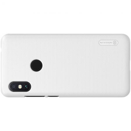 Пластиковый нескользящий NILLKIN Frosted кейс чехол для Xiaomi Redmi Note 6 / Note 6 Pro Белый + защитная пленка