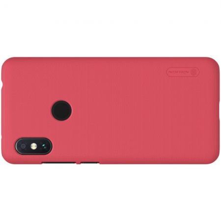 Пластиковый нескользящий NILLKIN Frosted кейс чехол для Xiaomi Redmi Note 6 / Note 6 Pro Красный + защитная пленка
