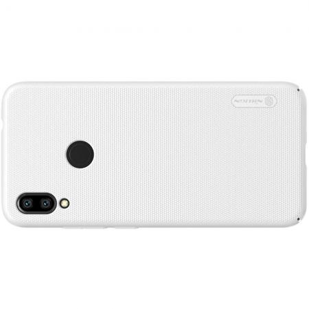 Пластиковый нескользящий NILLKIN Frosted кейс чехол для Xiaomi Redmi Note 7 / Note 7 Pro Белый + подставка
