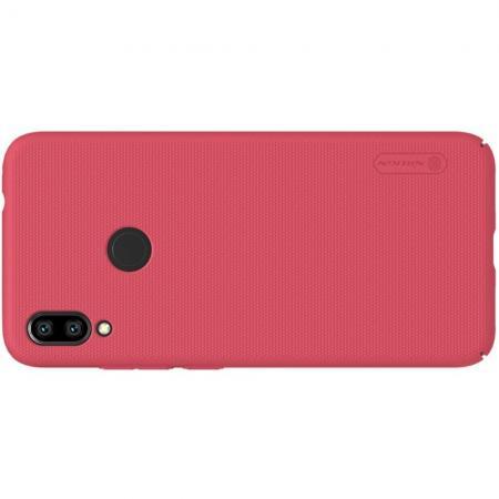 Пластиковый нескользящий NILLKIN Frosted кейс чехол для Xiaomi Redmi Note 7 / Note 7 Pro Красный + подставка
