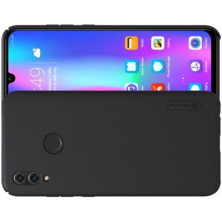 Пластиковый нескользящий NILLKIN Frosted кейс чехол для Xiaomi Redmi Note 7 / Note 7 Pro Черный + защитная пленка