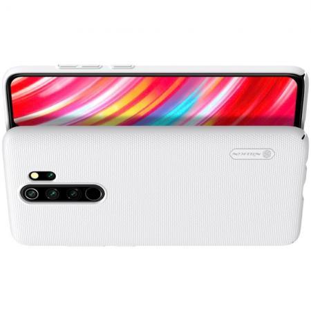 Пластиковый нескользящий NILLKIN Frosted кейс чехол для Xiaomi Redmi Note 8 Pro Белый + подставка