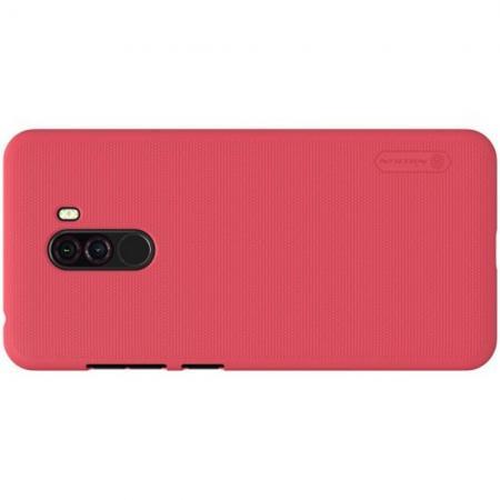 Пластиковый нескользящий NILLKIN Frosted кейс чехол для Xiaomi Redmi Note 8 Pro Красный + подставка