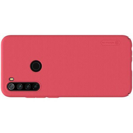 Пластиковый нескользящий NILLKIN Frosted кейс чехол для Xiaomi Redmi Note 8T Красный + подставка