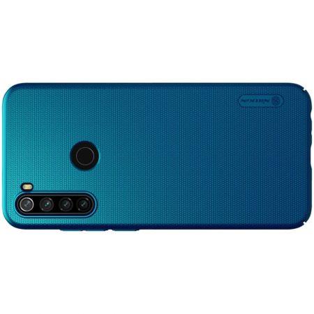 Пластиковый нескользящий NILLKIN Frosted кейс чехол для Xiaomi Redmi Note 8T Синий + подставка