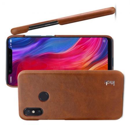 Пластиковый Жесткий IMAK Ruiyi Клип Кейс Футляр Искусственно Кожаный Чехол для Xiaomi Mi 8 SE Коричневый